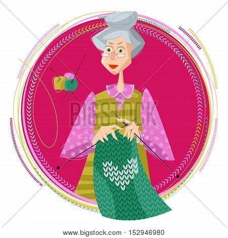 Grandmother knits a sweater. Knitting. Vector illustration.