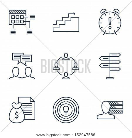 Set Of Project Management Icons On Innovation, Schedule And Discussion Topics. Editable Vector Illus