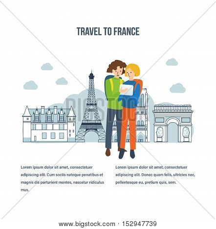 Concept of a travel to France, to explore the city, mobile navigation. Boy and girl on the background of the tower. The vector illustration can be used for a banner, commercial information.