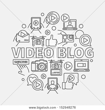 Video blog round linear illustration. Vector outline computer video blogging concept circular sign