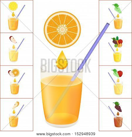 Glass with Fresh Juice on the White Background. Tube for Beverages. A Delicious Drink in a Glass. Card to a Friend with place for Text. Isolated Object. Vector Illustration.