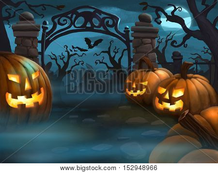 Creepy Halloween night illustration with pumpkins and bats