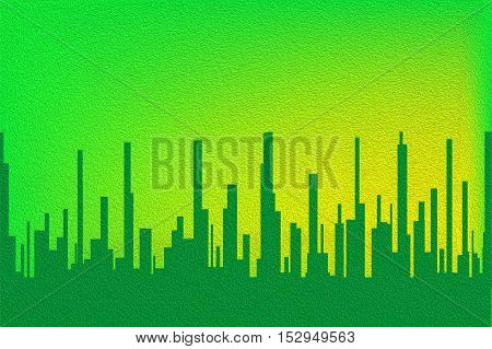 A cityscape in green with a green sky with ilumination.