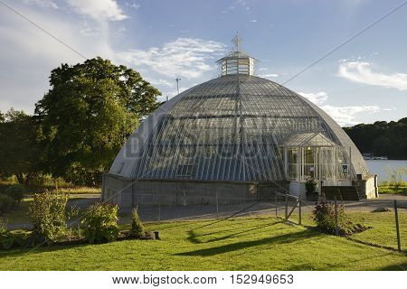 Old Greenhouse Dome in summer light .
