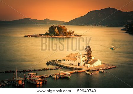 Mouse Island, Corfu, Greece. Vlacherna Monastery on the Kanoni peninsula in Corfu.