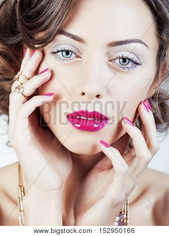 beauty young luxury woman with jewellery, rings, nails close up on white isolated