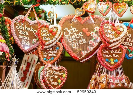 Gingerbread Hearts at German Christmas Market. Nuremberg, Munich, Fulda xmas market in Germany.