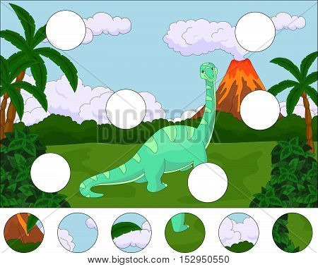 Funny Cute Diplodocus On The Background Of A Prehistoric Nature. Complete The Puzzle And Find The Mi