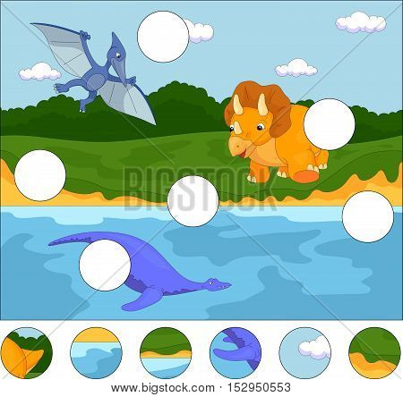 Funny Cute Pterodactyl, Pliosaur And Triceratops. Complete The Puzzle And Find The Missing Parts Of