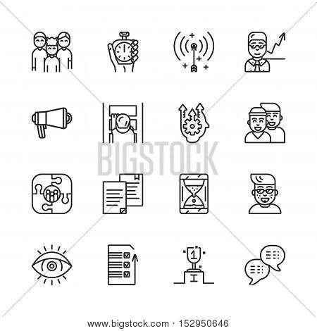Coaching, training and mentoring vector line icon set eps 10