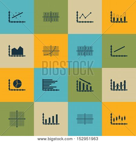 Set Of Graphs, Diagrams And Statistics Icons. Premium Quality Symbol Collection. Icons Can Be Used F