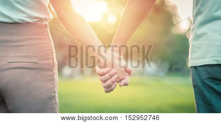 Couple holding hand in the park in the sunset