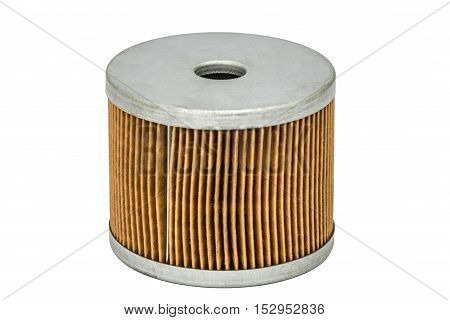 Car filter close-up auto spare part isolated on white with clipping path