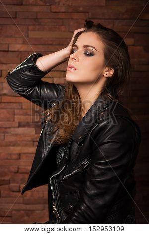 Stylish Woman With Leather Jacket