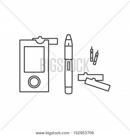 Meter. Control of blood glucose levels with pomoschyuspetsialnogo device. World Diabetes Day. Vector illustration.