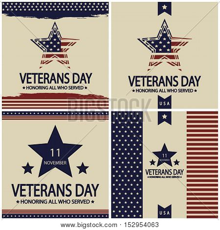 Veterans day card or beckground set. vector illustration poster