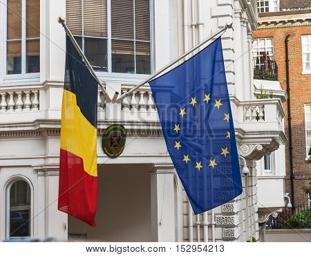 London, the UK - May 2016: Flags over Belgian Embassy