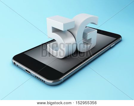 3d renderer image. Mobile phone with 5G wireless sign. Mobile telecommunication concept