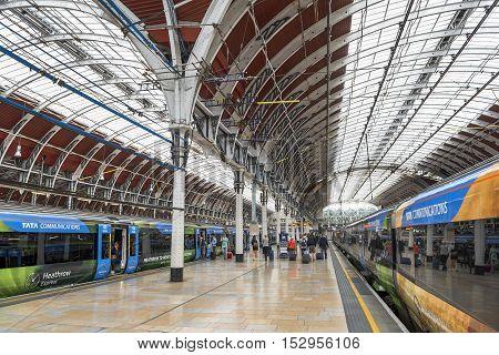 London,the UK-May 2016: At Paddington railway station
