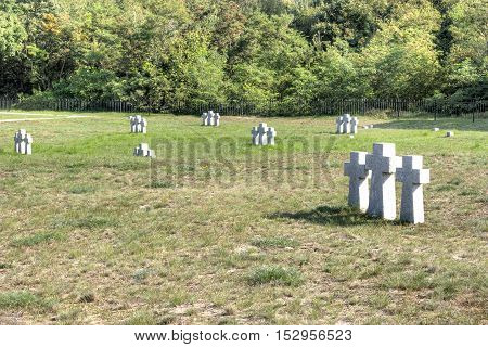 BALTIYSK RUSSIA - September 18.2008: Military burial of a foreign state. Cemetery of German soldiers and officers who died during the World War II