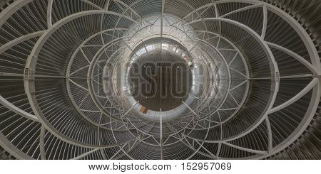 Abstract geometrical gackground of indoor construction site. Hyperbolic projection of spherical panorama.