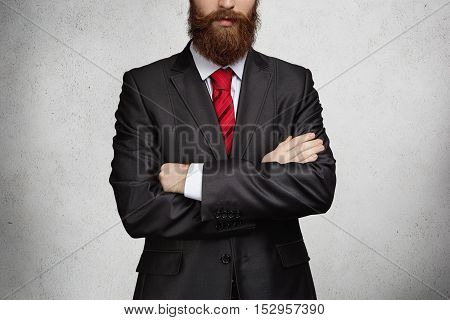 People, Business And Career Concept. Cropped Portrait Of Young Caucasian Businessman Wearing Elegant