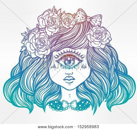 Cute cyclops monster girl. Portrait of young beautiful lady with one eye and roses in her hair for t-shirt design or post card. Fashion sketch vector illustration. Weird gothic art. Halloween.