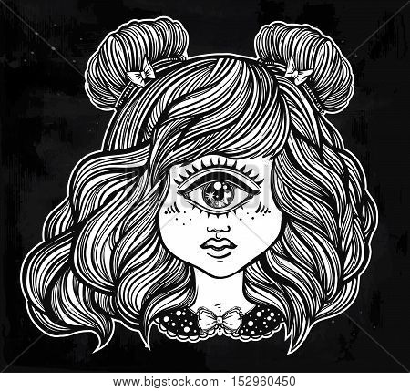 Cute cyclops monster girl. Portrait of young beautiful lady with one eye and lovely hair for t-shirt design or post card. Fashion sketch vector illustration. Weird gothic art. Halloween.