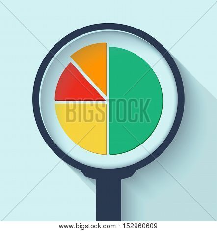 Business Analysis symbol with magnifying glass icon and pie chart. Eps10 vector illustration