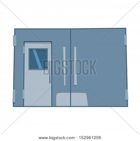 Color lift door isolated on white. Colorful front door to house and building in flat design style isolated. Vector illustration door isolated modern new decoration open elegant room lock