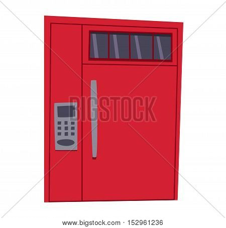 Bank safe door isolated on white. Colorful front door to house and building in flat design style isolated. Vector illustration door isolated modern new decoration open elegant room lock