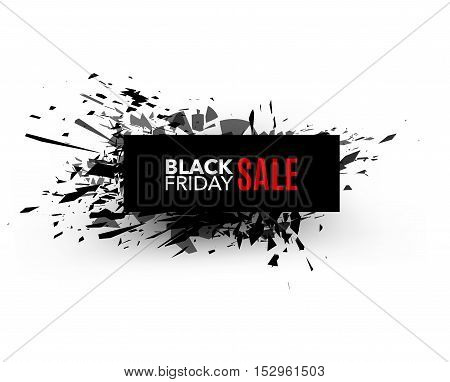 Black Friday sale inscription design template. Rectangular banner. Vector illustration, marketing price tag, discount, advertising. Abstract explosion of black glass. Vector illustration.