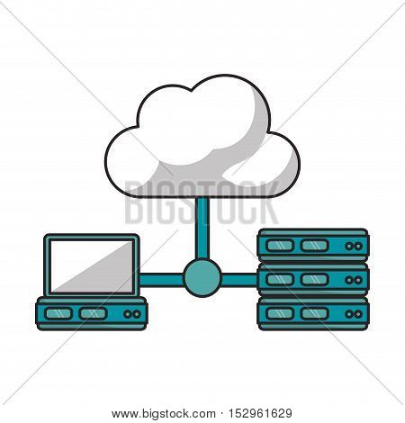 Cloud laptop and data base icon. Cloud computing storage technology and virtual theme. Isolated design. Vector illustration