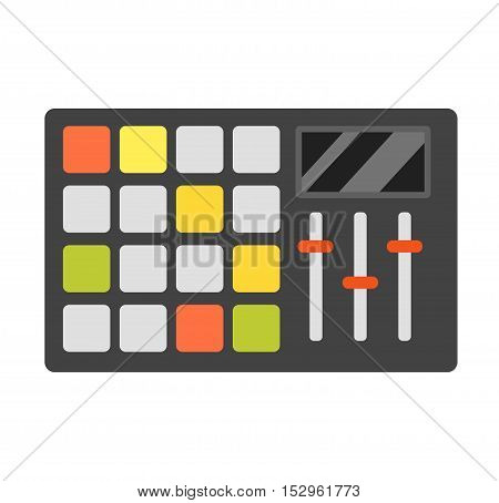 Dj music equipment and music mixer equipment. Technology party nightclub dj music equipment, nightclub mixing turntable volume disc control. Vector set various stylized dj music equipment icon.