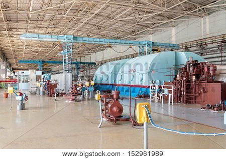 The energy industry. The room for the steam turbines of nuclear power station.