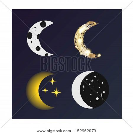 Phases of the moon  nature cosmos cycle satellite surface. Whole cycle from new moon month to full surface star astrology sphere.  illustration moon month astronomy space lunar. poster