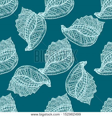 Zentangle stylized sea cockleshell seamless pattern. Hand Drawn aquatic doodle vector illustration.Ocean life. For textile, fashion, wrapping, wallpapers.