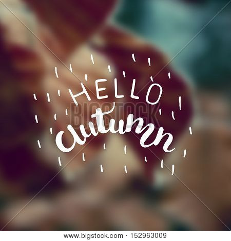Vector blurred autumn landscape background with typography text Hello Autumn .