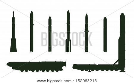 Intercontinental ballistic missile Topol-M and rockets silhouette isolated on white background.