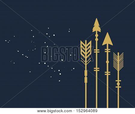 Abstract trendy closeup golden cut tribal arrows card on dark blue background