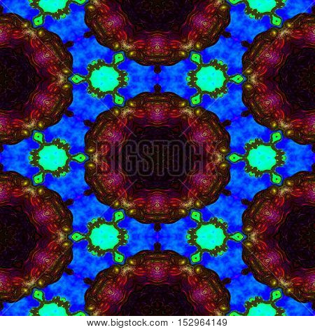 Kaleidoscopic ornamental pattern abstract background color texture