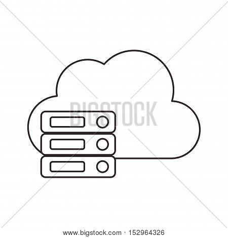 Cloud and data base icon. Cloud computing storage technology and virtual theme. Isolated design. Vector illustration