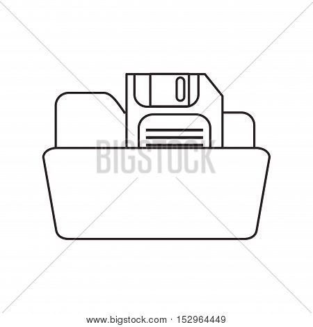 Diskette and file icon. Disk technology media data and information theme. Isolated design. Vector illustration