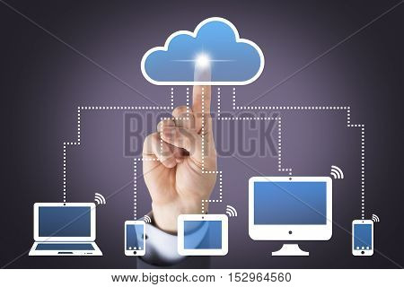 Human Hand Touching Contact Us Button on Visual Screen