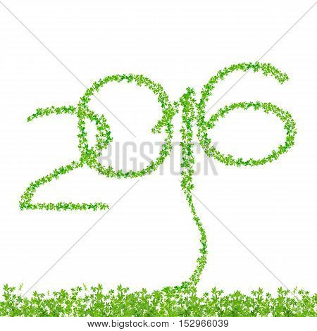2016 year made from beautiful fresh green leaves isolate on white with clipping path