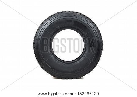 Car tire isolated on white background. Truck tire isolated. Dump tire isolated. Big Truck tire.