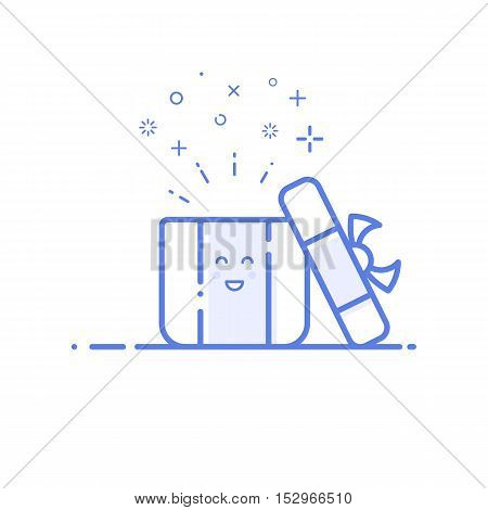 Vector illustration of icon shopping, surprise concept in line style. Linear blue gift or bounty. Design for internet, banner, web page and mobile app. Outline object e-commerce.