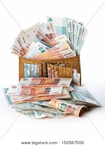 A lot of russian money roubles in wallet. Isolated object.
