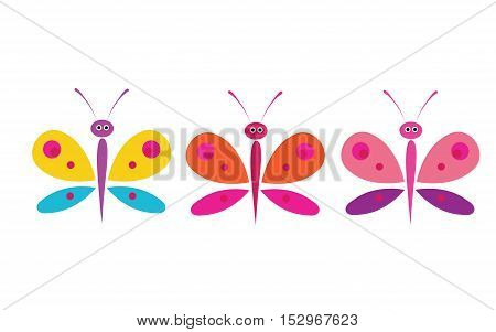 Funny butterflies on a white background. Collection of colorful butterflies. Art butterflies isolated on white