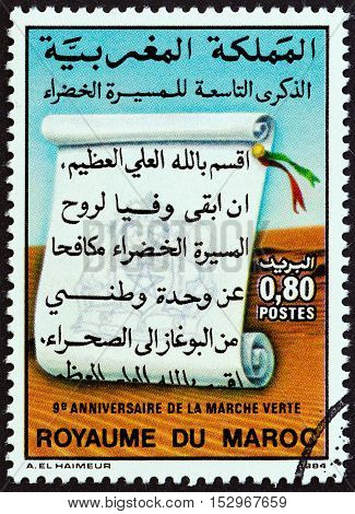 MOROCCO - CIRCA 1984: A stamp printed in Morocco issued for the 9th anniversary of